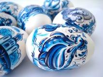 красивейшие голубые пасхальные яйца Стоковые Фотографии RF