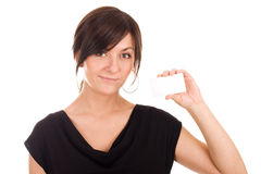 красивейшие детеныши женщины удерживания визитной карточки стоковое изображение