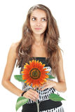 красивейшие детеныши солнцецвета удерживания девушки Стоковая Фотография RF