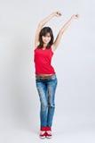 красивейшие джинсыы девушки танцы Стоковое фото RF