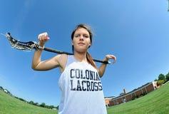 красивейшие женские детеныши игрока lacrosse Стоковые Фотографии RF