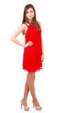 Красивейшие женщины в красном платье Стоковое фото RF