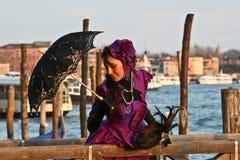 красивейшие женщины venice масленицы Стоковая Фотография