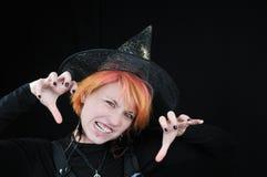 красивейшие злющие детеныши ведьмы halloween стоковая фотография rf