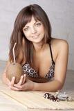 красивейшие кокосы брюнет Стоковая Фотография RF