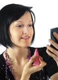 красивейшие краски губ девушки брюнет Стоковое Изображение RF