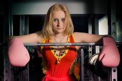 красивейшие перчатки девушки бокса Стоковая Фотография RF
