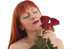 красивейшие розы девушки Стоковая Фотография RF