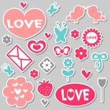 Красивейшие романтичные стикеры Стоковые Изображения RF