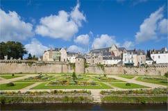 Красивейшие сады и стены в Vannes, Бретан Стоковое Фото