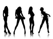 красивейшие силуэты девушок Стоковая Фотография