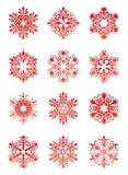 красивейшие снежинки комплекта иллюстрация вектора