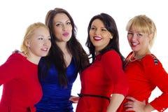 красивейшие 4 собирают счастливых изолированных сексуальных белых женщин молодых Изолированный на whi Стоковые Изображения