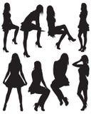 красивейшие 8 силуэтов девушок Стоковые Фото