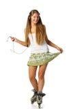 красивейшие rollerskates девушки Стоковые Фото