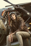 Красивейший авиатор женщины: фото сбора винограда Стоковые Фото