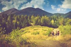 Красивейший ландшафт горы лета Туристы с рюкзаками взбираются к верхней части горы Стоковое Изображение