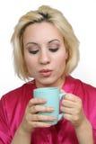 красивейший белокурый кофе 2 Стоковое Фото