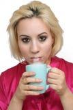 красивейший белокурый кофе 3 Стоковое Фото