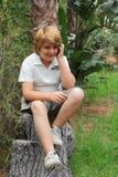 красивейший белокурый мальчик 10 лет Стоковое фото RF