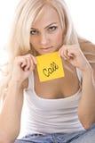 красивейший белокурый удерживания стикера tha желтый цвет очень Стоковое Изображение