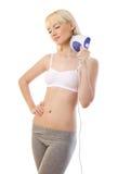 Красивейший белокурый massager удерживания женщины Стоковые Изображения
