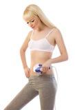 Красивейший белокурый massager удерживания женщины Стоковые Фотографии RF