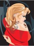 красивейший белокурый tattoo ящерицы девушки иллюстрация вектора