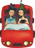 красивейший вектор девушок автомобиля Стоковое Изображение RF