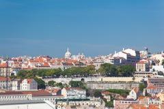 Красивейший взгляд города Лиссабона старого, Португалии Стоковые Фото