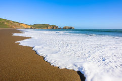 Красивейший взгляд на береге волны и океана одичалом Стоковая Фотография
