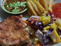 красивейший вкусный стейк свинины Стоковые Изображения RF