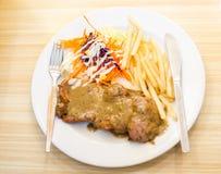 красивейший вкусный стейк свинины Стоковые Изображения
