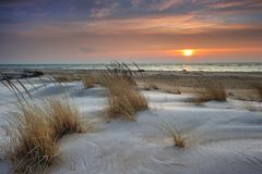 красивейший восход солнца США Мичигана озера huron Стоковое фото RF