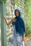 красивейший голубой головной шарф redhead Стоковые Фото