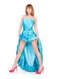красивейший голубой красный цвет платья обувает женщину Стоковые Изображения