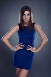 красивейший голубой портрет девушки платья Стоковая Фотография