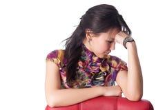 Красивейший думать молодой женщины Стоковая Фотография RF