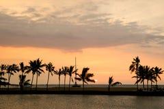 красивейший заход солнца Гавайских островов Стоковые Фотографии RF