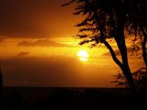 красивейший заход солнца Гавайских островов maui Стоковое фото RF
