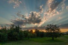 Красивейший заход солнца лета Стоковая Фотография RF