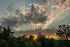 Красивейший заход солнца лета Стоковые Фото