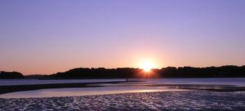 красивейший заход солнца панорамы Стоковые Изображения