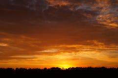 красивейший заход солнца Ландшафт Стоковые Изображения