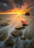 красивейший заход солнца моря Стоковое Изображение