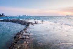 красивейший заход солнца моря стоковое фото