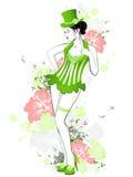 красивейший зеленый цвет девушки платья Иллюстрация вектора