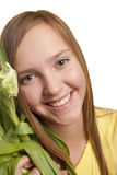 красивейший зеленый цвет девушки цветка Стоковые Фото