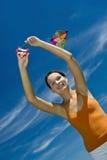 красивейший змей девушки мухы Стоковая Фотография RF