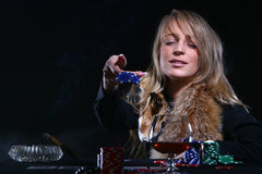 красивейший играя покер который женщина Стоковое Фото